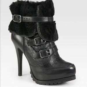 NWOT Ash Black Enigma Rabbit Furlined Ankle Boots
